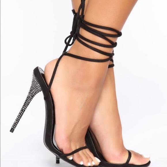 Fashion Nova Shoes - New-Black Strap up rhinestone heels